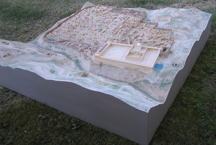 Picture of the large Jerusalem model seen from the East